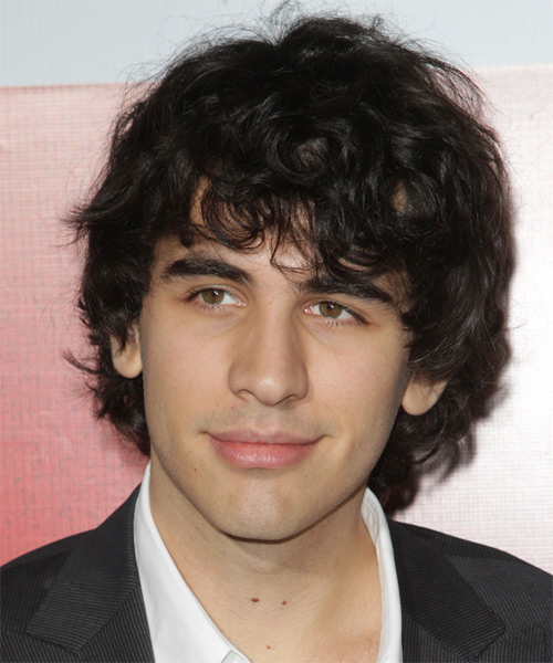 Nick Simmons Medium Wavy Hairstyle - Dark Brunette