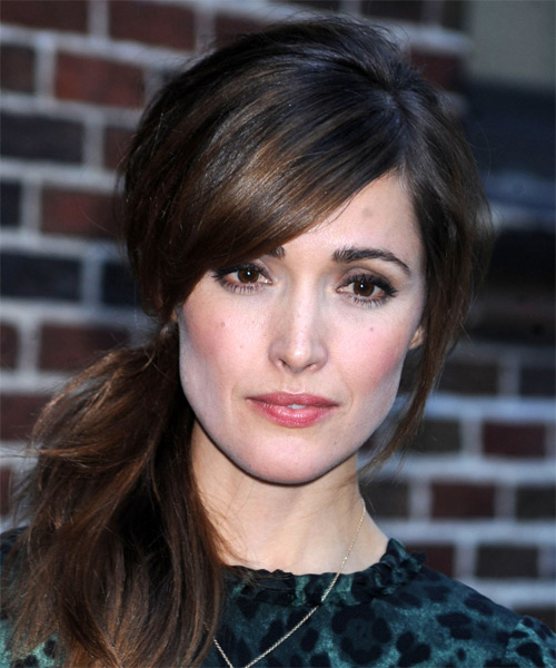 Rose Byrne Straight Casual Updo Hairstyle with Side Swept Bangs - Dark Brunette Hair Color
