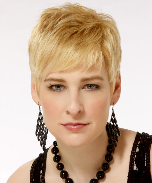 Short Straight Casual Hairstyle - Light Blonde (Golden) Hair Color