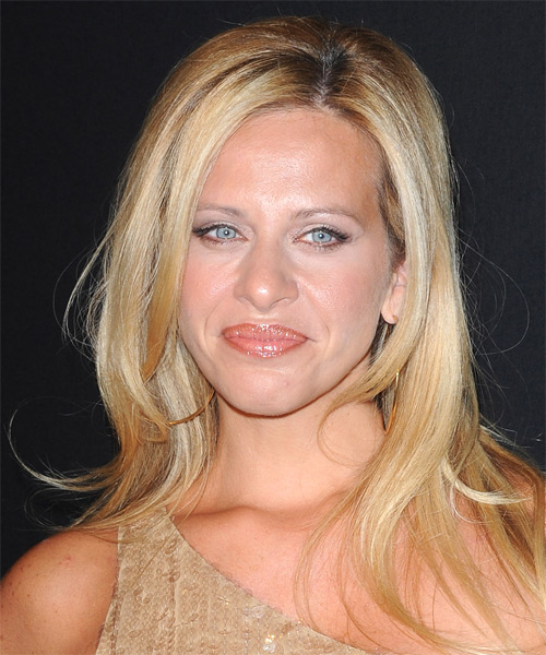 Dina Manzo Long Straight Formal Hairstyle - Medium Blonde (Golden) Hair Color