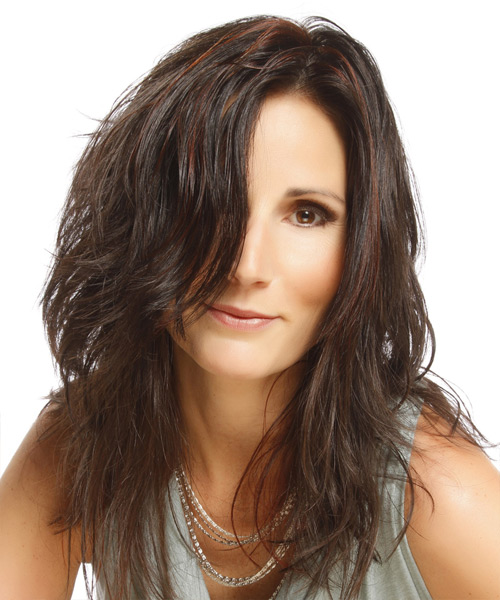 Long Straight Casual Hairstyle - Dark Brunette Hair Color