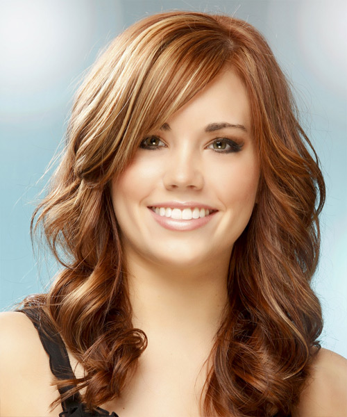 Long Wavy Formal Hairstyle - Medium Red (Copper) Hair Color