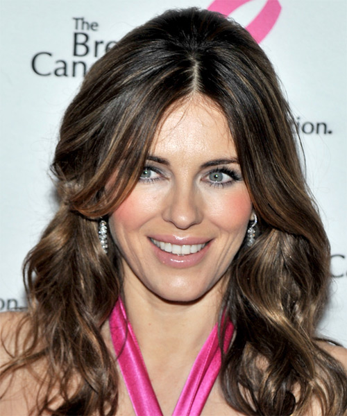 Elizabeth Hurley Long Wavy Hairstyle - Medium Brunette