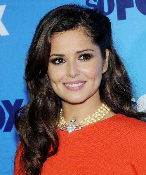 Cheryl Cole Long Wavy Hairstyle - Dark Brunette