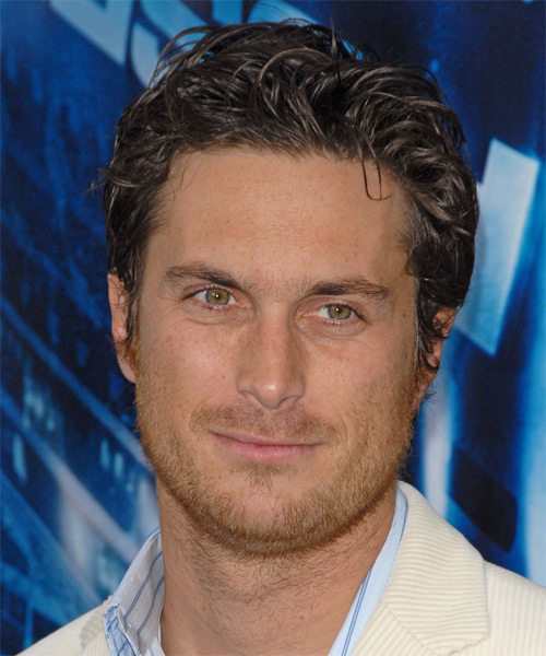 Oliver Hudson Short Wavy Casual Hairstyle - Dark Brunette Hair Color