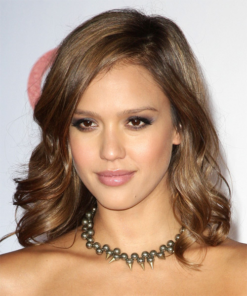 Jessica Alba Medium Wavy Hairstyle - Medium Brunette (Caramel)