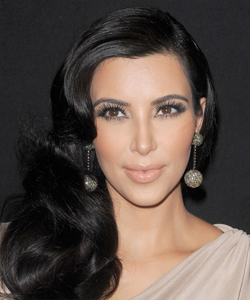 Kim Kardashian Long Wavy Formal Hairstyle - Black Hair Color