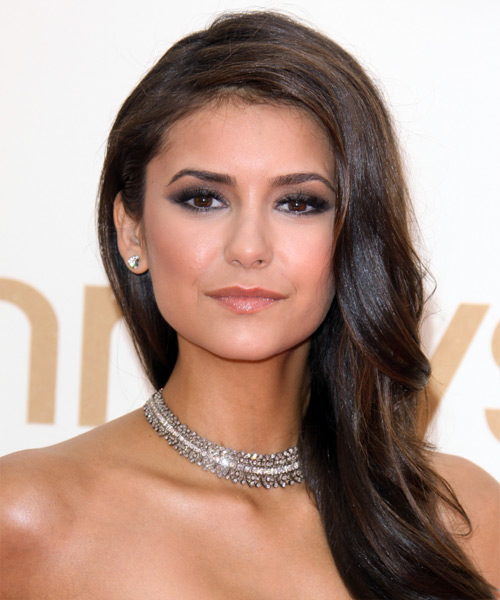 Nina Dobrev Long Wavy Hairstyle - Dark Brunette