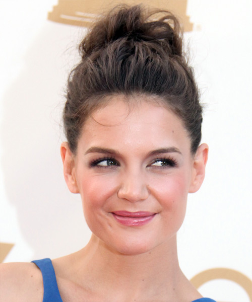Katie Holmes - Casual Updo Long Curly Hairstyle