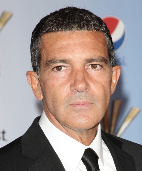 Antonio Banderas Short Straight Hairstyle - Dark Grey