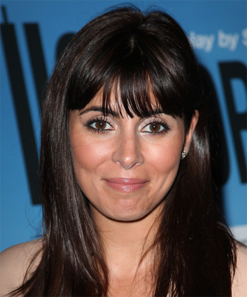 Jamie-Lynn Sigler Long Straight Casual Hairstyle with Blunt Cut Bangs - Dark Brunette Hair Color