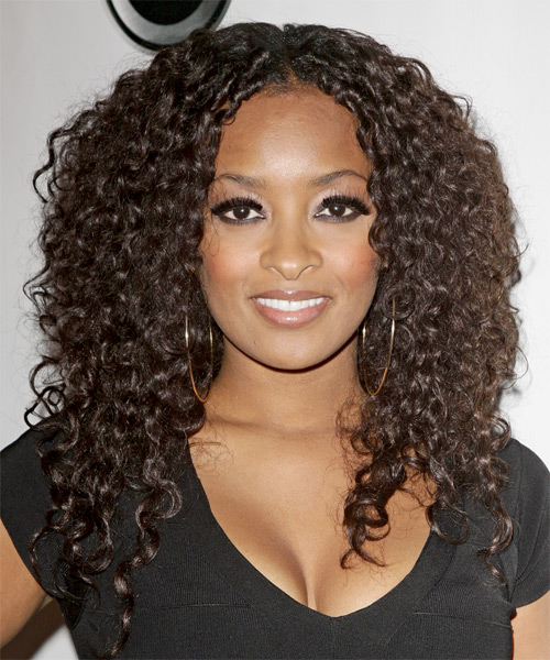 Jennia Fredrique  Long Curly Casual Hairstyle - Medium Brunette (Chocolate) Hair Color