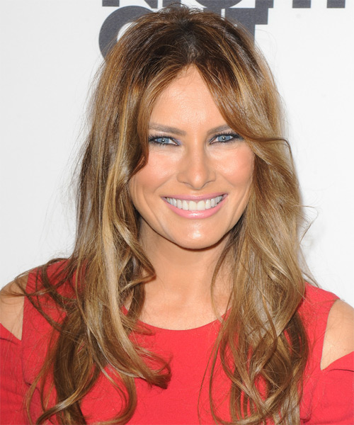 Melania Trump Long Wavy Casual Hairstyle - Dark Blonde Hair Color