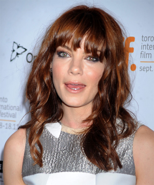 Michelle Monaghan Long Wavy Casual Hairstyle with Layered Bangs - Medium Brunette (Auburn) Hair Color