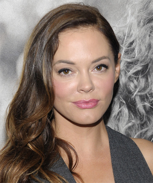 Rose McGowan Long Wavy Formal Hairstyle - Medium Brunette Hair Color