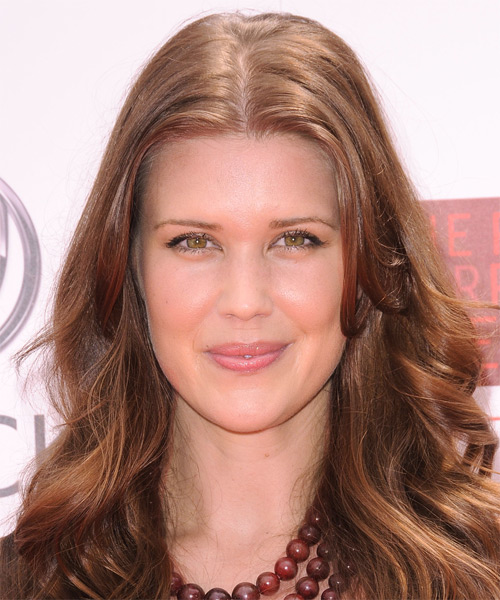 Sarah Lancaster Long Wavy Formal Hairstyle - Light Brunette (Chestnut) Hair Color