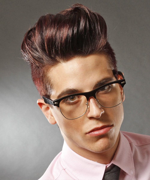 Short Straight Alternative Hairstyle - Dark Red (Plum)