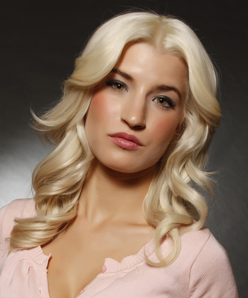 Long Wavy Formal Hairstyle - Light Blonde (Platinum) Hair Color