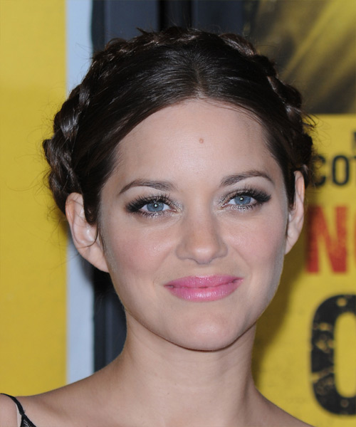 Marion Cotillard Formal Curly Updo Braided Hairstyle - Dark Brunette