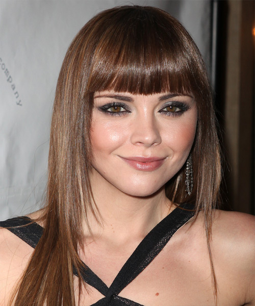 Christina Ricci Long Straight Formal Hairstyle - Medium Brunette (Chestnut) Hair Color