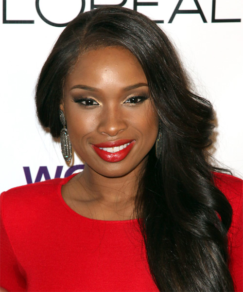 Jennifer Hudson Long Wavy Formal Hairstyle - Black (Ash)