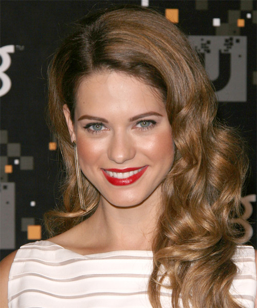 Lyndsy Fonseca Long Wavy Hairstyle - Medium Brunette (Caramel)