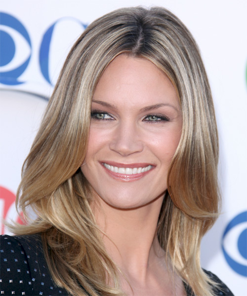 Natasha Henstridge Medium Straight Casual Hairstyle - Dark Blonde Hair Color