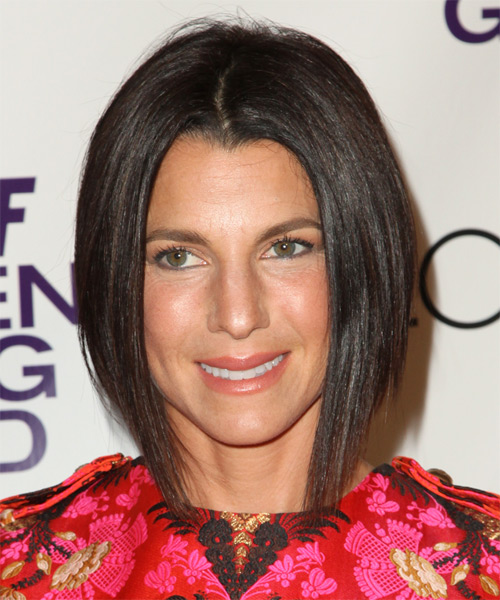 Jessica Seinfeld Medium Straight Bob Hairstyle - Dark Brunette