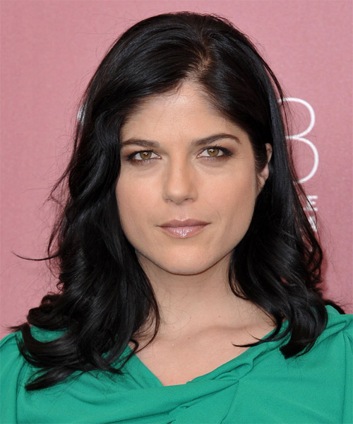 Selma Blair Medium Wavy Hairstyle - Black