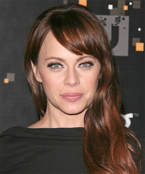 Melinda Clarke Long Straight Casual  with Side Swept Bangs - Medium Brunette (Auburn)