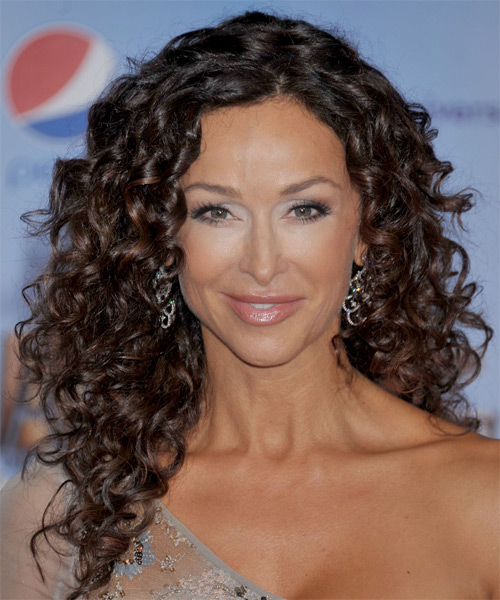 Sofia Milos Long Curly Formal Hairstyle - Dark Brunette Hair Color