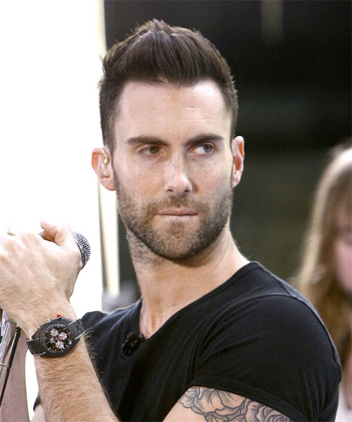 Adam Levine Short Straight Casual Hairstyle - Medium Brunette Hair Color