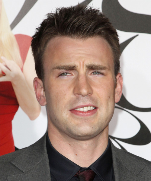 Chris Evans Short Straight Hairstyle - Medium Brunette (Ash)