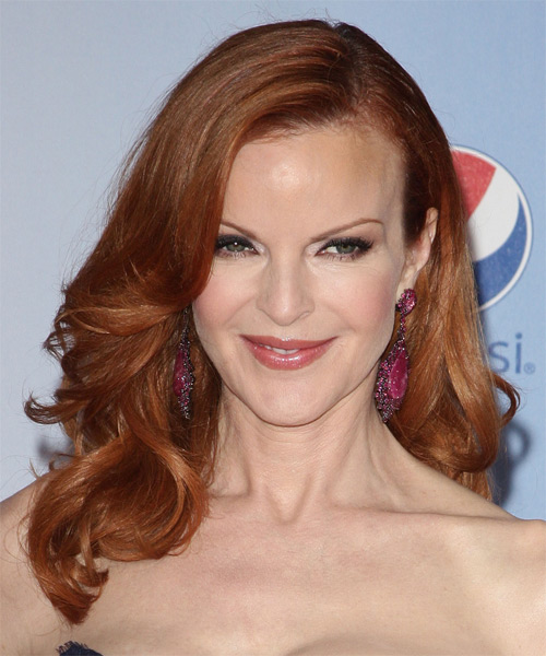 Marcia Cross Long Wavy Hairstyle - Medium Red (Ginger)