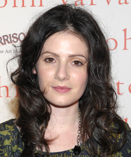 Aleksa Palladino  Long Wavy Casual Hairstyle - Dark Brunette (Ash) Hair Color