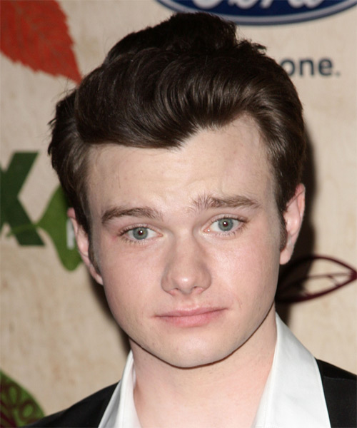 Chris Colfer Short Straight Formal Hairstyle - Dark Brunette (Chocolate) Hair Color