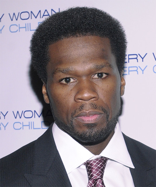 "Curtis ""50 Cent"" Jackson Short Curly Casual Afro Hairstyle - Black Hair Color"