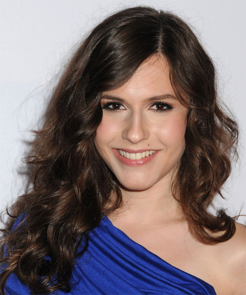 Erin Sanders Long Wavy Hairstyle - Dark Brunette (Chocolate)