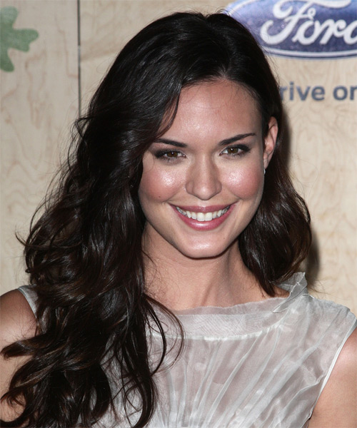 Odette Annable Long Wavy Casual Hairstyle - Dark Brunette Hair Color