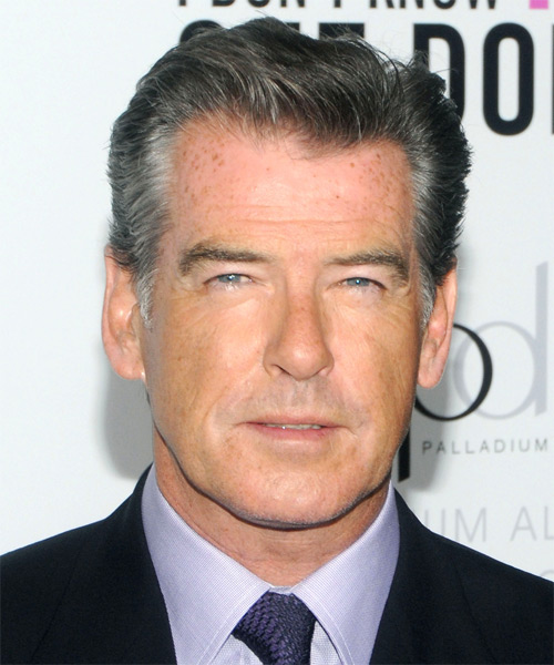 Pierce Brosnan Short Straight Hairstyle - Medium Grey
