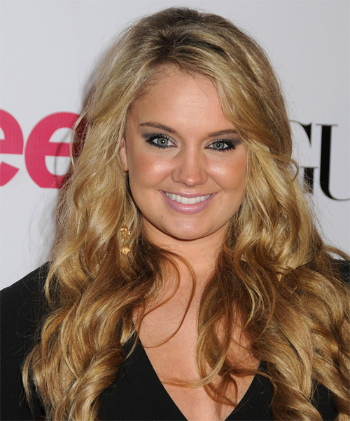 Tiffany Thornton Long Wavy Formal Hairstyle - Dark Blonde (Golden) Hair Color
