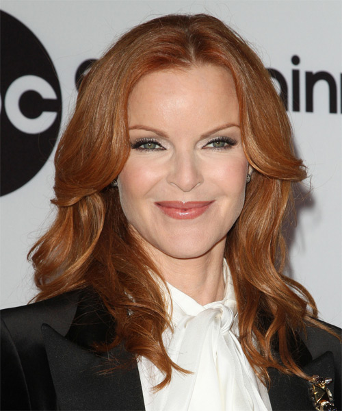 Marcia Cross Long Wavy Hairstyle - Medium Red (Copper)