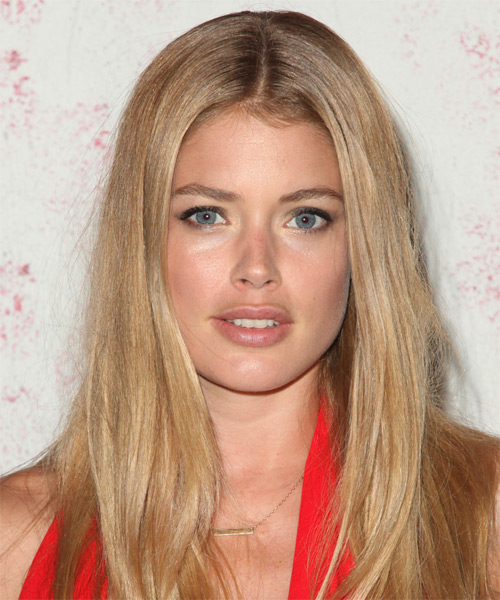 Doutzen Kroes Long Straight Casual Hairstyle - Medium Blonde (Champagne) Hair Color