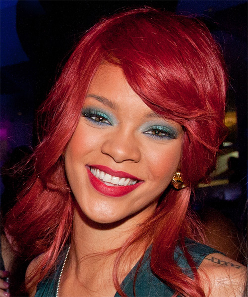 Rihanna Long Straight Casual Hairstyle - Medium Red Hair Color
