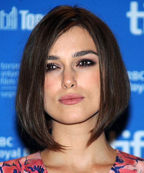 Keira Knightley Medium Straight Casual Bob Hairstyle - Dark Brunette Hair Color