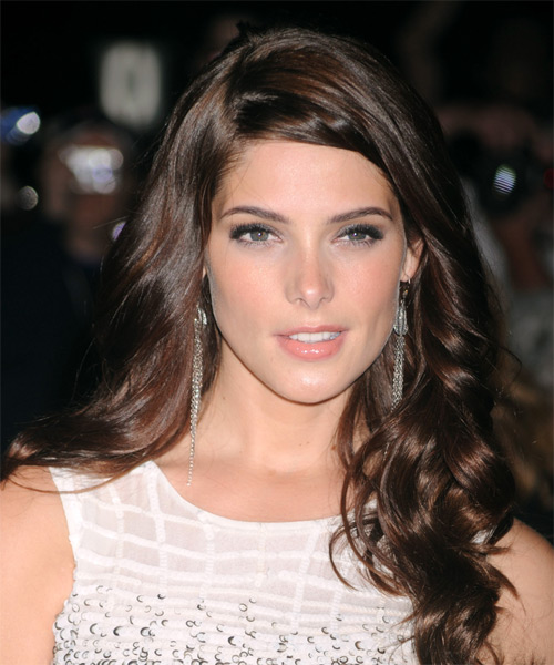 Ashley Greene Long Wavy Formal Hairstyle - Medium Brunette (Mocha) Hair Color