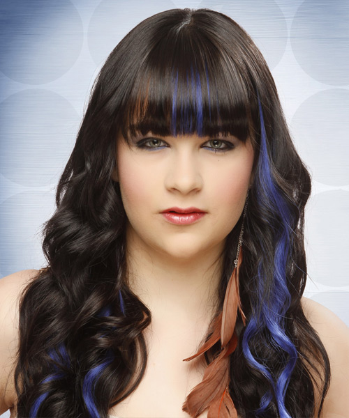 Long Wavy Formal Hairstyle with Blunt Cut Bangs - Black Hair Color