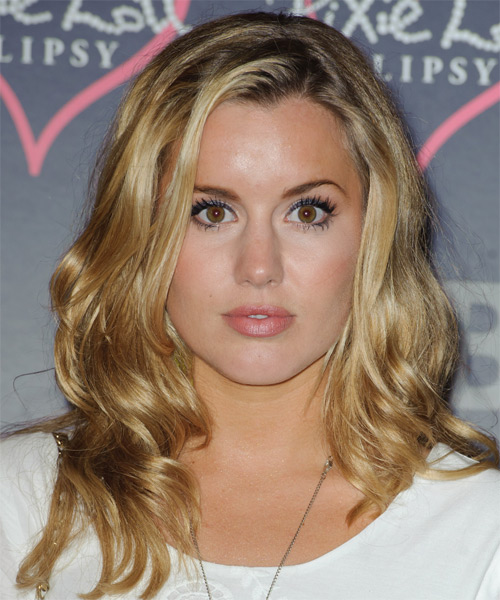 Caggie Dunlop Long Wavy Hairstyle - Medium Blonde