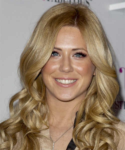 Kristine Elezaj Long Wavy Formal Hairstyle - Medium Blonde (Golden) Hair Color