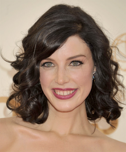 Jessica Pare Medium Wavy Formal Hairstyle with Side Swept Bangs - Dark Brunette Hair Color